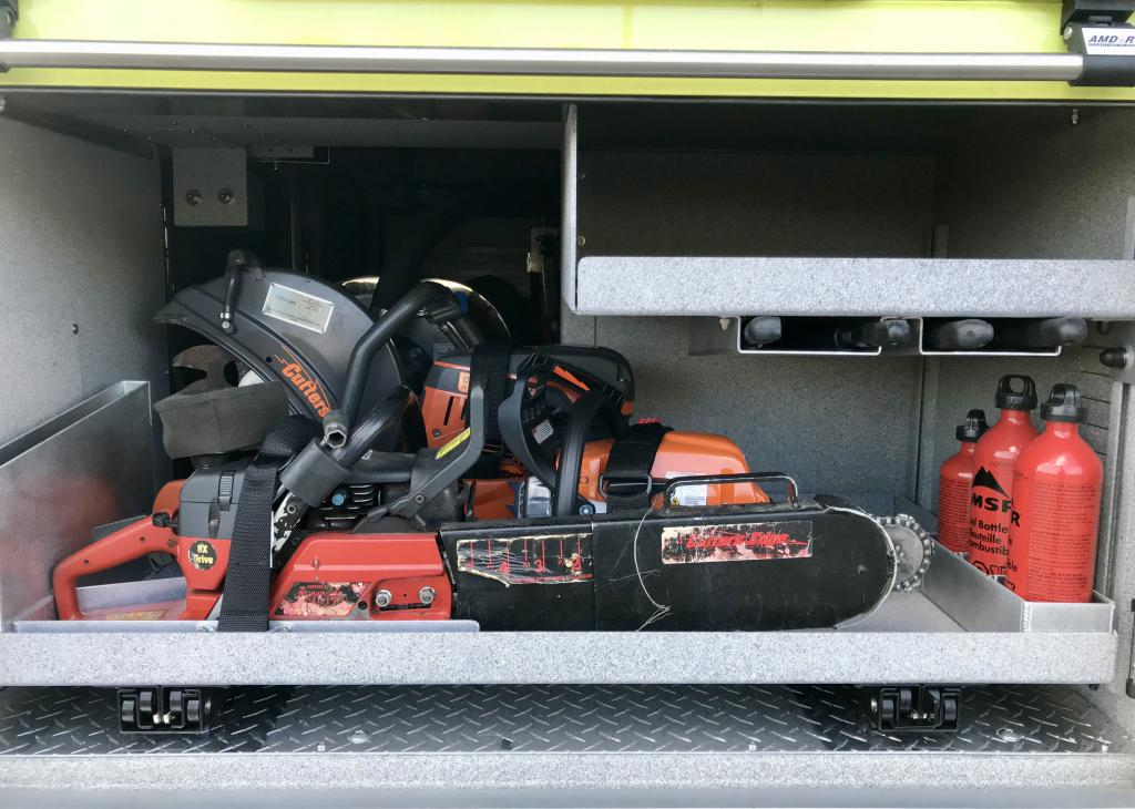 The truck carry's 3 saws (one rotary and two chainsaws)
