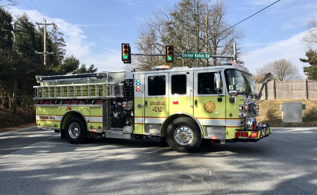 "Engine 49-2 ""Yellow Bird"" blocking traffic at Route 322 and Corner Ketch Road"