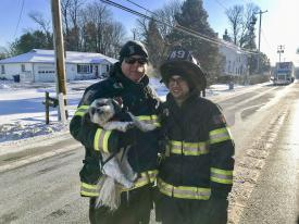 FF/EMT Edwards and FF/EMT Pilotti head to Doggie Day Care with Bridgett