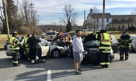 Mike on-scene at an accident in which his wife was involved