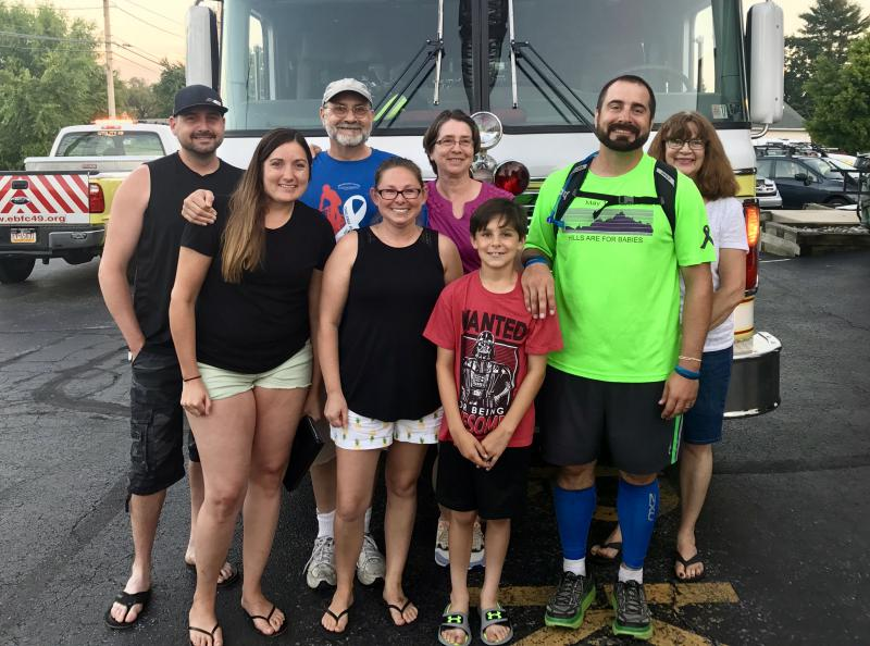 Mike and his family at the finish