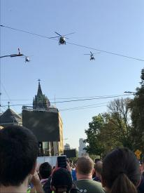 New York City Police helicopter fly over