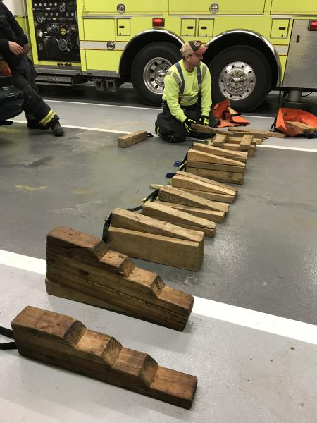 Training Officer Keen reviewing different cribbing methods
