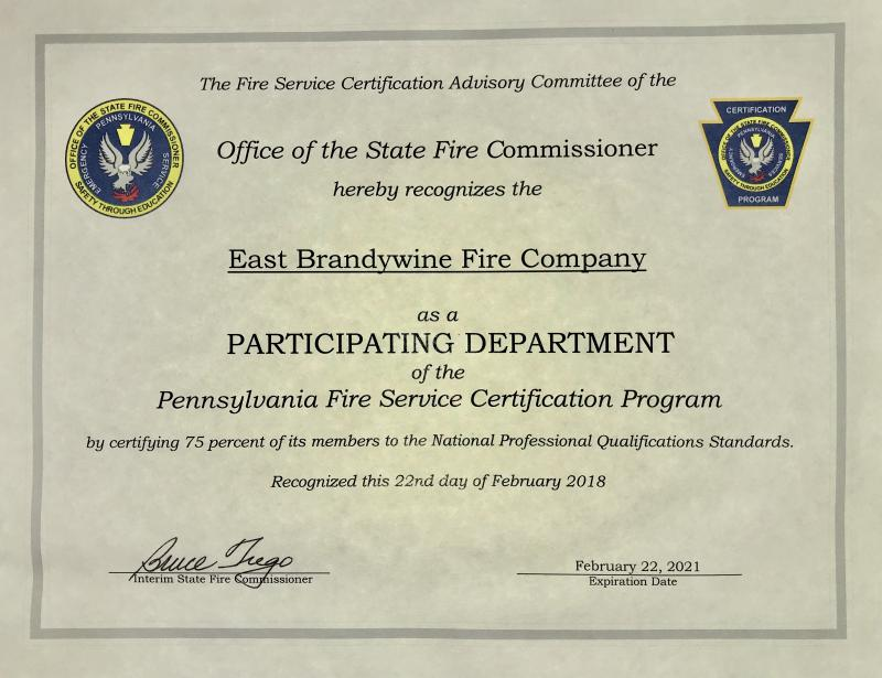 Company Renews Professional Certification East Brandywine Fire Company