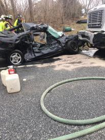 Accident on Route 322, automobile versus a garbage truck